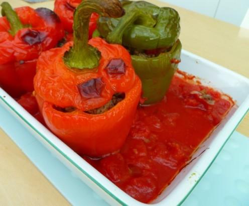 Gevulde paprika's uit de Griekse keuken