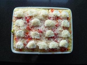 Vegetarische lasagne met gorgonzola en geroosterde groenten