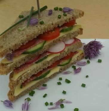 Sandwich met kaas, komkommer, radijs, tomaat