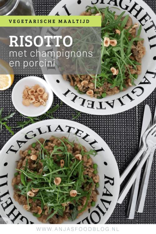 Maak je wel eens risotto? Probeer dan zeker ook eens deze risotto met champignons en porcini. De smaak is echt zó lekker! #recept #risotto #vegan #champignons #porcini