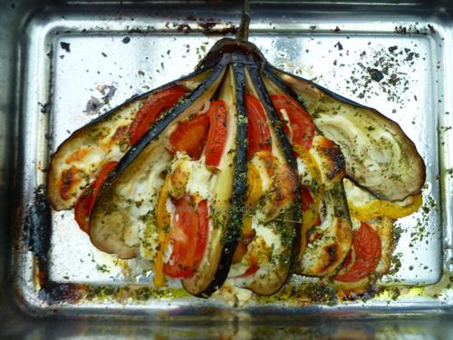 Auberginewaaiers uit de oven