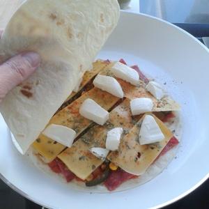 Quesedilla, een ideaal snel lunchgerecht. Wraps worden gevuld met spinazie, tomaat en je favoriete kaas. Even in de pan of contactgrill en klaar!