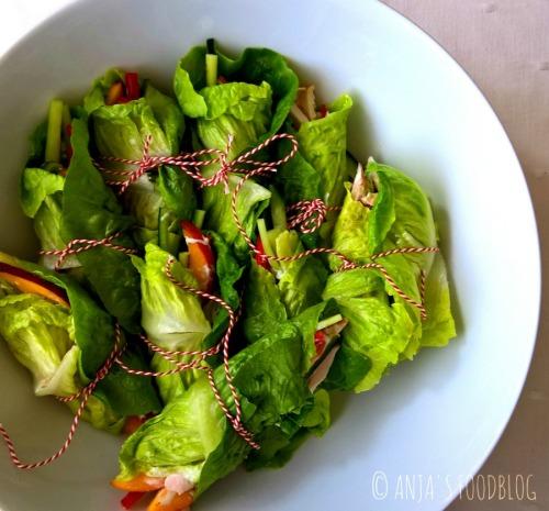 Saladewraps - Anja's Foodblog Gevuld met gerookte kip, nectarines, komkommer en paprika