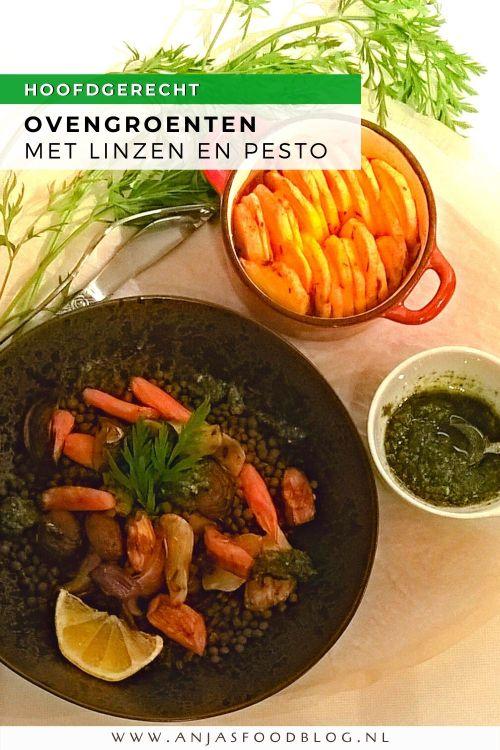 Aardperen, wortel en champignons in een vegetarische ovenschotel. Geef er linzen bij, maak van het wortelloof pesto en bak de aardappelschijfjes meteen ook in de oven. Verrassend lekker!