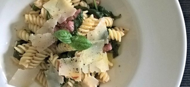 Pasta met verse spinazie