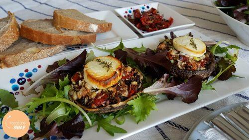 Gevulde portobello's met noten en geitenkaas