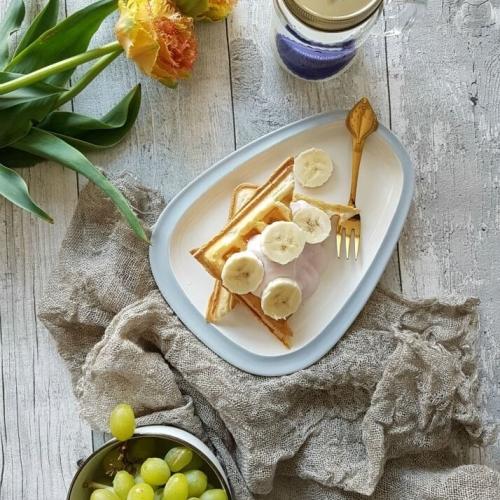 Ontbijtwafels met kwark en fruit