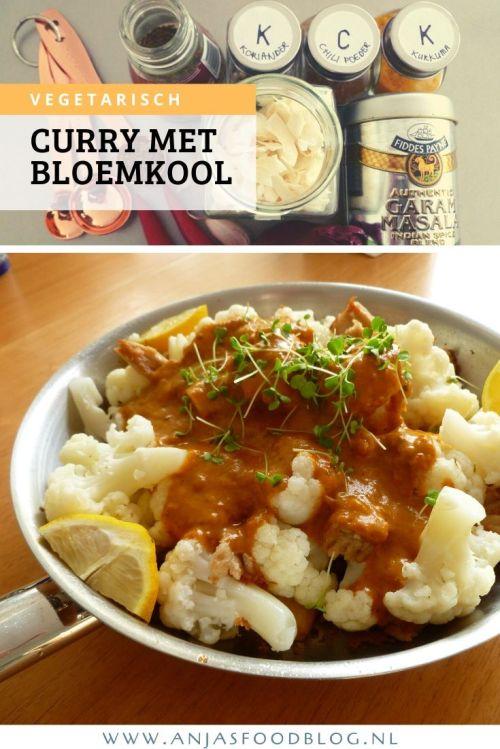Vegetarische curry met bloemkool en mango chutney is verrassend lekker! Als vleesvervanger gebruik je seitan of vegetarische kipstukjes. #recept #vegan #vegetarisch #curry #seitan
