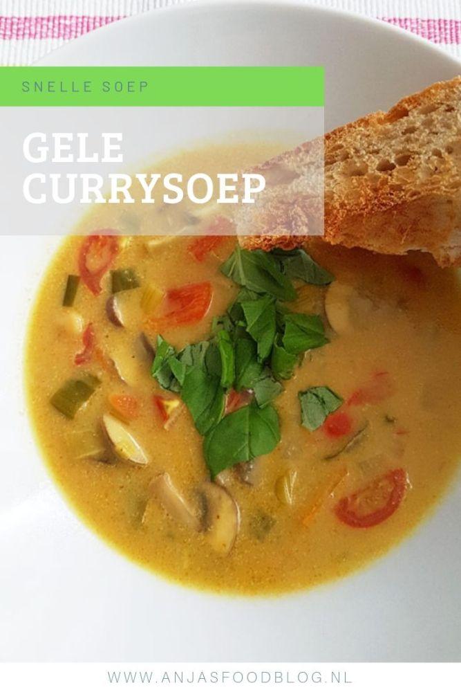 Een hartverwarmende gele currysoep met champignons en groenten als paprika en prei. Door het gebruik van currypasta en kokosmelk als smaakmakers maak je een verrassend lekkere soep.