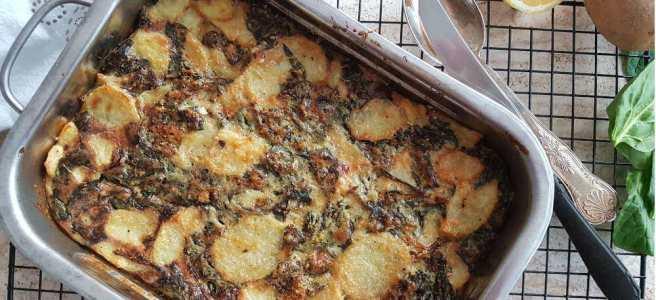 Oventortilla met aardappel en spinazie