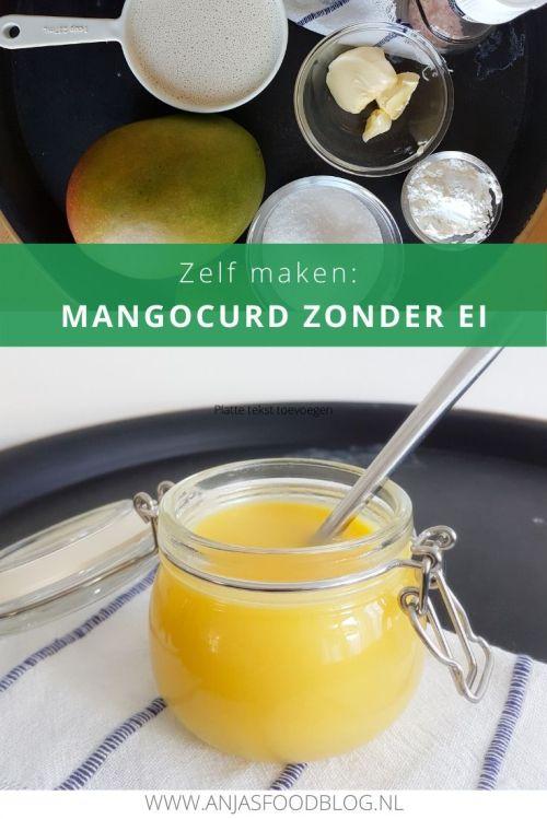 Zelf maken: mangocurd zonder ei. De smaak is heerlijk en combineert goed bij desserts met chocola of ijs. #recept #mangocurd #vegan