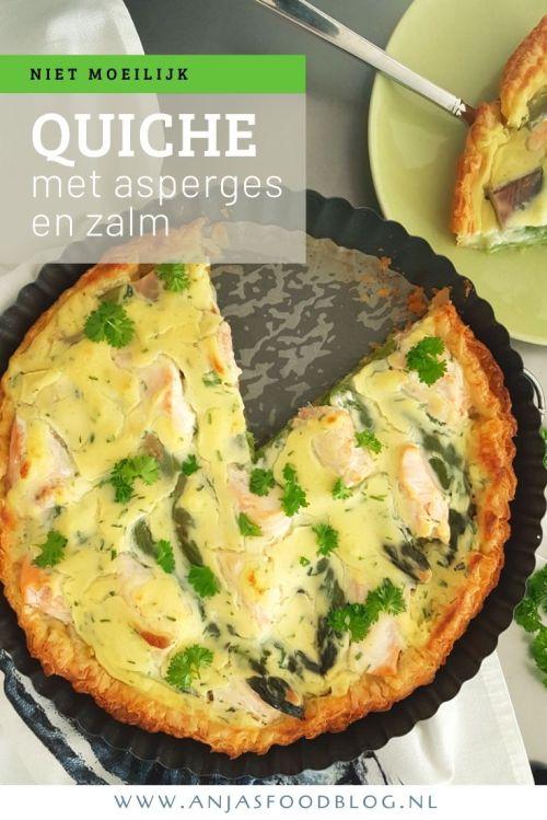 Vier de lente met asperges! Deze overheerlijke quiche van bladerdeeg met groene asperges en zalm is helemaal niet moeilijk te maken. #quiche #groeneasperges #wildezalm #recept