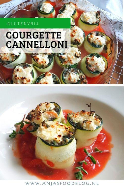 Courgette cannelloni met een romige vulling van ricotta, spinazie en champignons. Zo lekker en glutenvrij, je mist de pasta echt niet! #recept #glutenvrij #cannelloni #vegetarisch