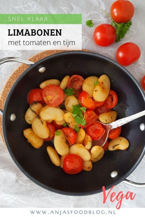 Een vega bijgerecht van limabonen met tomaten en tijm. Heel simpel maar daarom niet minder lekker. Klaar in 15 minuten! #recept #vega #vegan #nederlands #limabonen