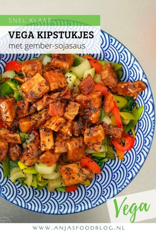 Een oosterse maaltijd met vegetarische kipstukjes in een gember-sojasaus. De saus maak je eerst en dan voeg je de kipstukjes toe.  #recept #vegetarisch #wokken #gember #soja