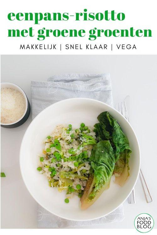 Bij risotto denk je misschien niet meteen aan een eenpansgerecht, maar precies dat heb ik hier voor je! Risotto met groene groenten als broccoli, erwten en little gem.  #recept #risotto #eenpansgerecht