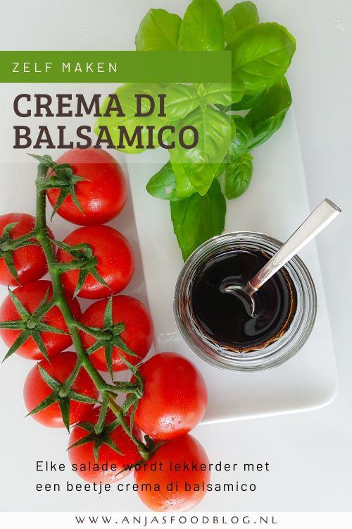Crema di balsamico is echt super makkelijk om zelf te maken! Smaakt heerlijk over een salade of bij een lekker stukje kaas. Het enige wat je nodig hebt is balsamico-azijn en suiker.  #recept #homemade #cremadibalsamico #makkelijk #dressing