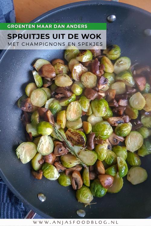 Spruitjes worden extra lekkerder als je ze wokt met champignons en eventueel spekjes. Lekker met krieltjes uit één pan, maar zeker ook met romige aardappelpuree en gepofte kastanjes erbij.   #recept #spruitjes #champignons #spruitjesuitdewok #groenten