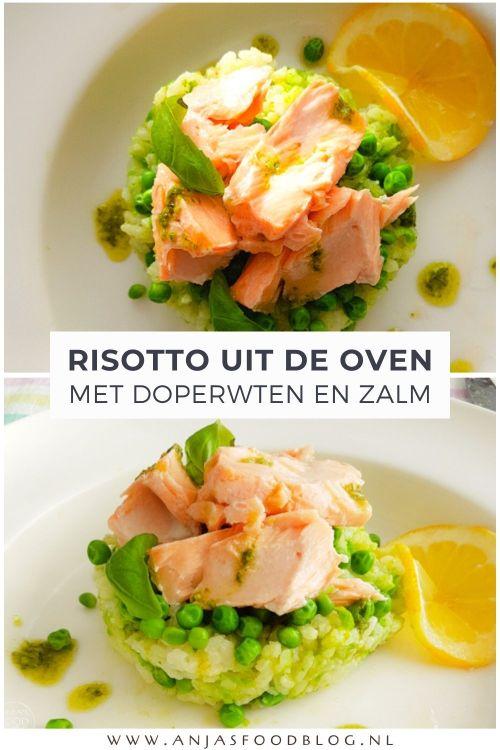 Risotto uit de oven, dat is pas makkelijk! Tover nu dit feestelijke gerecht op tafel van risotto met doperwten en zalm.   #recept #risotto #risottouitdeoven #zalm #doperwten #ovengerecht