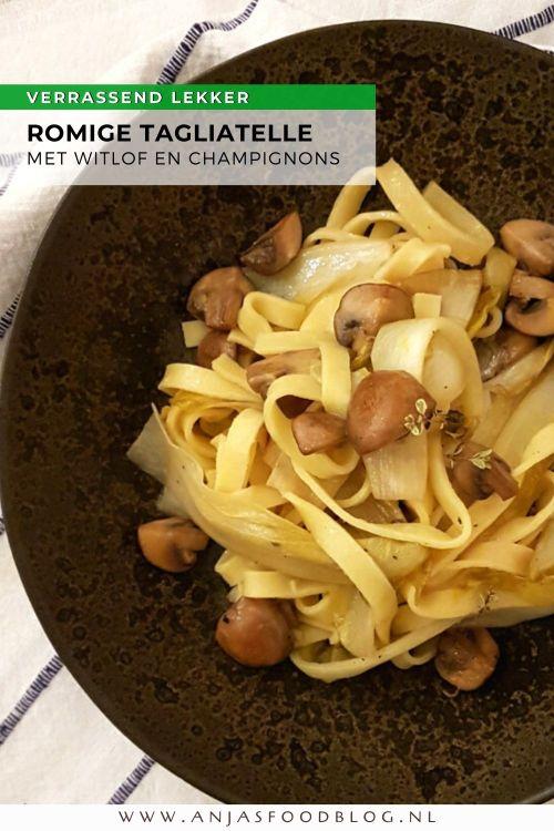 Tagliatelle met champignons en witlof. Dit is echt een verrassend lekkere pasta. De witlof combineert goed met de pasta, de champignons zijn bomvol smaak en crème fraîche zorgt voor de verbinding.   #recept #vegetarisch #pasta #makkelijk #tagliatelle #witlof