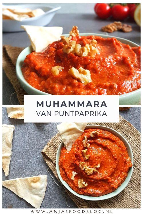 Een van mijn favoriete dips is Muhammara: een Oosterse dip op basis van geroosterde paprika, walnoot en granaatappel. Dit is niet alleen lekker op brood, maar zeker ook bij een maaltijd met wraps of couscous én op de borrelplank.  #recept #muhammara #paprikadip #dip #vega #makkelijk