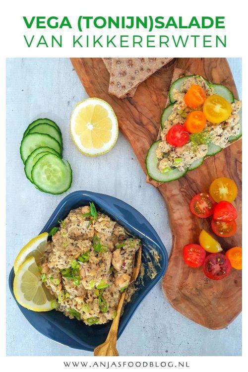 Een vegetarische salade voor bij de lunch of op de borrelplank. Deze (tonijn)salade is gemaakt van kikkererwten. Probeer het eens en verras iedereen met deze gezonde salade!  #recept #salade #vega #vegetarisch #tonijnsalade #kikke