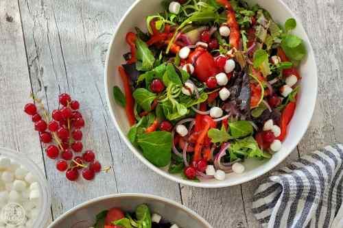 Salade met rode bessen en geitenkaas